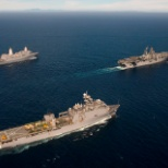 USS NEW ORLEANS (rear left) USS MAKIN ISLAND (center) USS PEARL HARBOR (rear right)