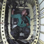 Working in the tail of a SH-60F...somewhere in the ocean.