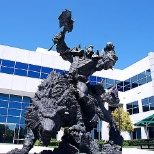 Bronze orc statue guards the courtyard at Blizzard headquarters.