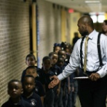 Our kindergarten scholars practice walking in straight lines in the hallways.
