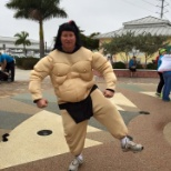 Bill Hawley, COO, rocking the sumo suit during the heart walk.