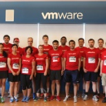 VMware photo: VMware Cambridge employees are ready to take their mark at the JPMorgan Chase Corporate Challenge.