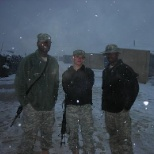 Posing in the snow on our 1st deployment.