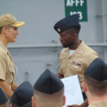 Getting promoted to third class petty officer by my commanding officer