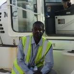 In El Oeid logistics base while operating a forklift to load containers