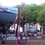 Arial Angels Acrobatic team performing in Market Square in the Exchange District.