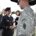 The two star general congratulating me for getting honors at basic training.