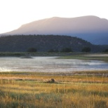 Arizona Game and Fish Department photo: View of Escudilla Mountain from Sipe at Sunrise.