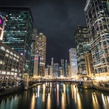 Chicago river by night.