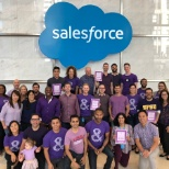 Salesforce employees stood visibly in support and solidarity for LGBTQ youth.