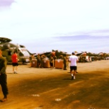 Some of the Harriers and one of the helicopters