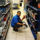 Jay cleaning the battery rack
