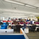 Collaborative, fun environment. Mobile desks to shift near project teammates. Standing desks.