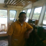 At the Pilot House surveying the navigational equipment (LCT Pilipino)
