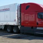 New 2015 Freightliner Cascadia evolution - 2016 Wabash Trailer with side skirts & trailer tail.