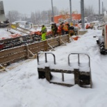RailWorks Corporation photo: Inbeded track pour in winter