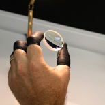 Leonardo DRS photo: A lens for a DRS thermal vision system is inspected