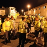 photo of Waste Management, Drivers gather for a morning safety meeting. Safety is a core value with zero compromise at WM.