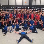 The Brussels install team, celebrating the store completion