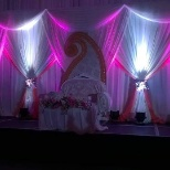 Complete stage set up for the wedding event.
