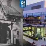 Then & Now: The original hospital in the 1890s versus the current hospital on E. Post Road.