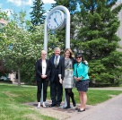 Honouring chancellor Jim Dinning with a street clock at U of C.