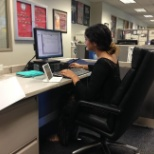 Chapman University photo: Working at the front desk on casual dress day!