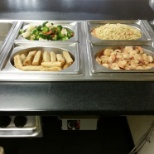 Thompson Hospitality photo: Shrimp vegetable rolls pasta and vegetables