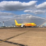 DHL expresses appreciation to its employees on a Boeing 757 plane