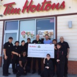 Presenting Tim Hortons check for the Humboldt Broncos.