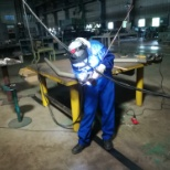 Hitachi photo: This is my worplace section. The Pre-assy. section. Where i assemble ang weld.