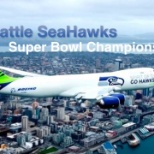 The SeaHawks plane painted in their livery by Boeing personnel