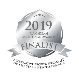 "FINALIST for the 2019 Canadian Mortgage Awards under the category of ""ALTERNATIVE BROKER SPECIALIST"