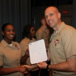 Advancement to E-6. Shaking hands with the Captain!