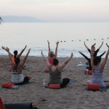 Yoga on the beach during Winspire.