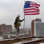 Taking down ,the Topping Out Flag