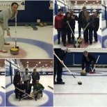 Hitting the ice for a little team building, curling, and of course some important bragging rights