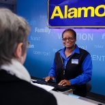 Darlene assists a customer at one of our Alamo airport branches.