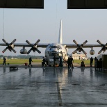 A  US Coast Guard C-130 arrives in the DRS Elizabeth City, N.C. MRO facility for overhaul work