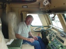 Inside the cab of a Caiman MRAP vehicle.  Reliability.