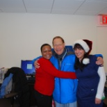 Christmas at work, doctor and 2 medical staff, myself with the xstmas hat