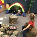 Preschoolers explored the sights and sounds of our campground during the nature study.