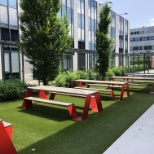Foot Locker photo: Besides a professional cafe we offer a great outside seating area and a basketball/soccer playground