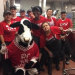 Workers having a blast on cow appreciation day!