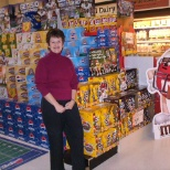 Superbowl display, M&M stand up pouch format