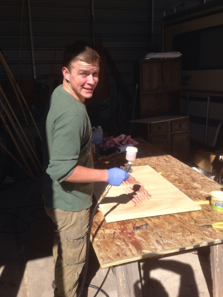 Making a wood carving for veterans