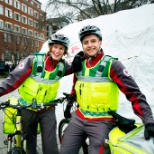 British Red Cross photo: Two first aiders on bikes