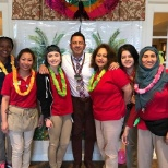Atria Glen Ellyn staff recognize employees at their luau party.