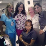"Our ""A"" team.  I am in the bright blue scrubs."
