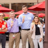 Interns enjoying a summer afternoon on the Plaza.